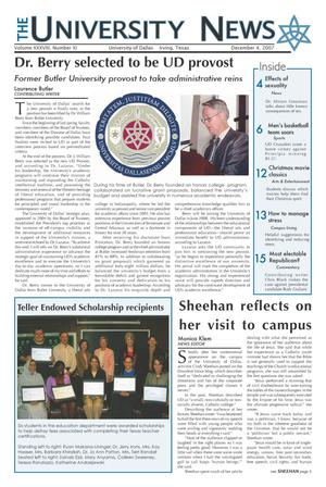 The University News (Irving, Tex.), Vol. 38, No. 11, Ed. 1 Tuesday, December 4, 2007