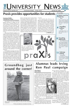 Primary view of object titled 'The University News (Irving, Tex.), Vol. 38, No. 13, Ed. 1 Tuesday, January 29, 2008'.