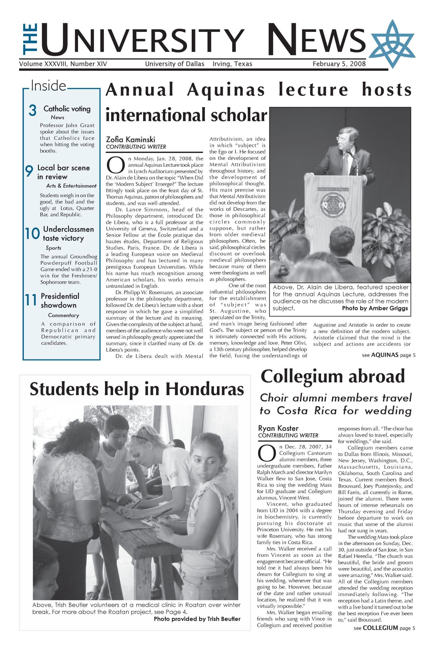 The University News (Irving, Tex.), Vol. 38, No. 14, Ed. 1 Tuesday, February 5, 2008                                                                                                      [Sequence #]: 1 of 12