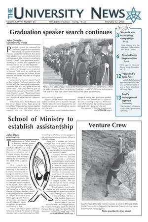 Primary view of object titled 'The University News (Irving, Tex.), Vol. 38, No. 15, Ed. 1 Tuesday, February 12, 2008'.