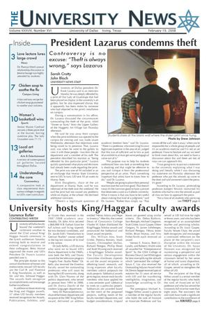 The University News (Irving, Tex.), Vol. 38, No. 16, Ed. 1 Tuesday, February 19, 2008