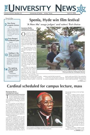 Primary view of object titled 'The University News (Irving, Tex.), Vol. 38, No. 20, Ed. 1 Tuesday, April 8, 2008'.
