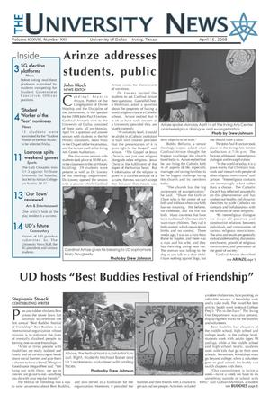 Primary view of object titled 'The University News (Irving, Tex.), Vol. 38, No. 21, Ed. 1 Tuesday, April 15, 2008'.