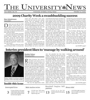 Primary view of object titled 'The University News (Irving, Tex.), Vol. 35, No. 6, Ed. 1 Tuesday, October 13, 2009'.