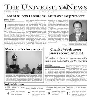 Primary view of object titled 'The University News (Irving, Tex.), Vol. 35, No. 12, Ed. 1 Tuesday, December 8, 2009'.