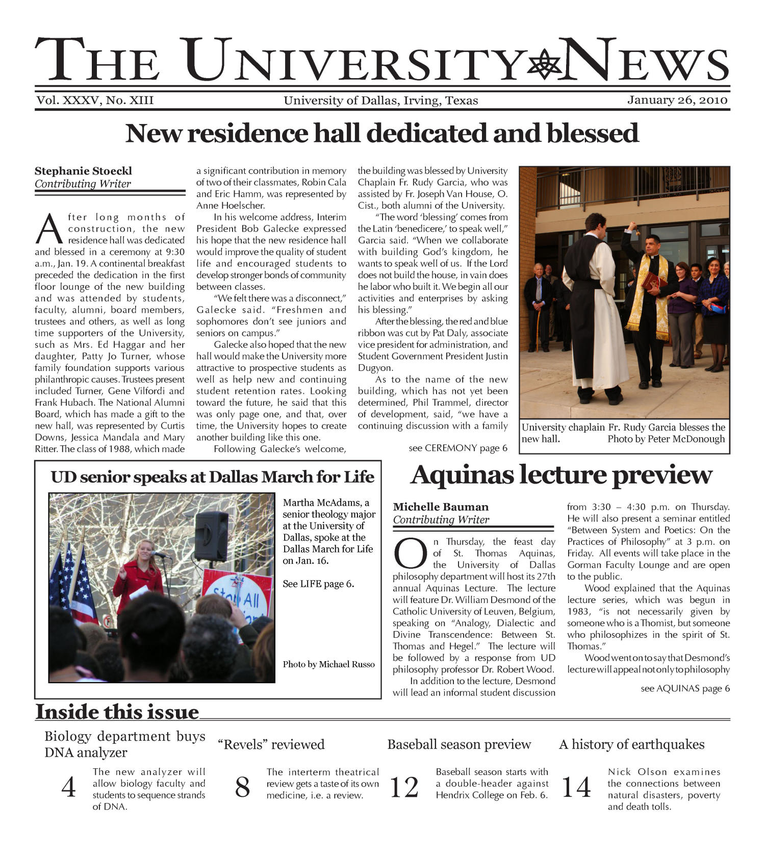 The University News (Irving, Tex.), Vol. 35, No. 13, Ed. 1 Tuesday, January 26, 2010                                                                                                      [Sequence #]: 1 of 16