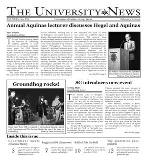 Primary view of object titled 'The University News (Irving, Tex.), Vol. 35, No. 14, Ed. 1 Tuesday, February 2, 2010'.