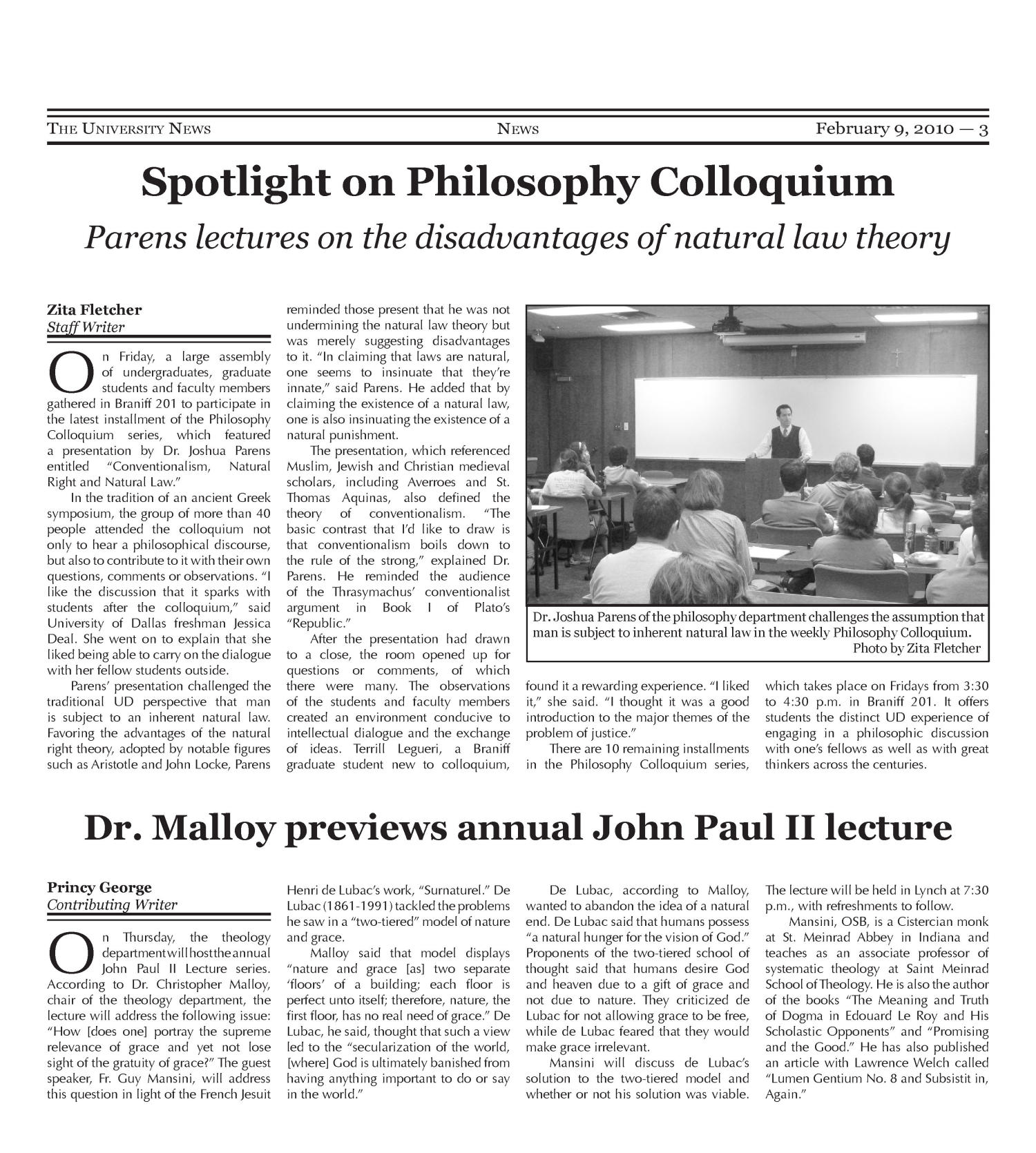 The University News (Irving, Tex.), Vol. 35, No. 15, Ed. 1 Tuesday, February 9, 2010                                                                                                      [Sequence #]: 3 of 16