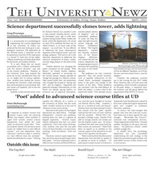 Primary view of object titled 'The University News (Irving, Tex.), Vol. [35], No. [19], Ed. 1 Thursday, April 1, 2010'.