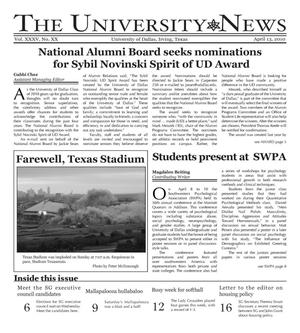 Primary view of object titled 'The University News (Irving, Tex.), Vol. 35, No. 20, Ed. 1 Tuesday, April 13, 2010'.