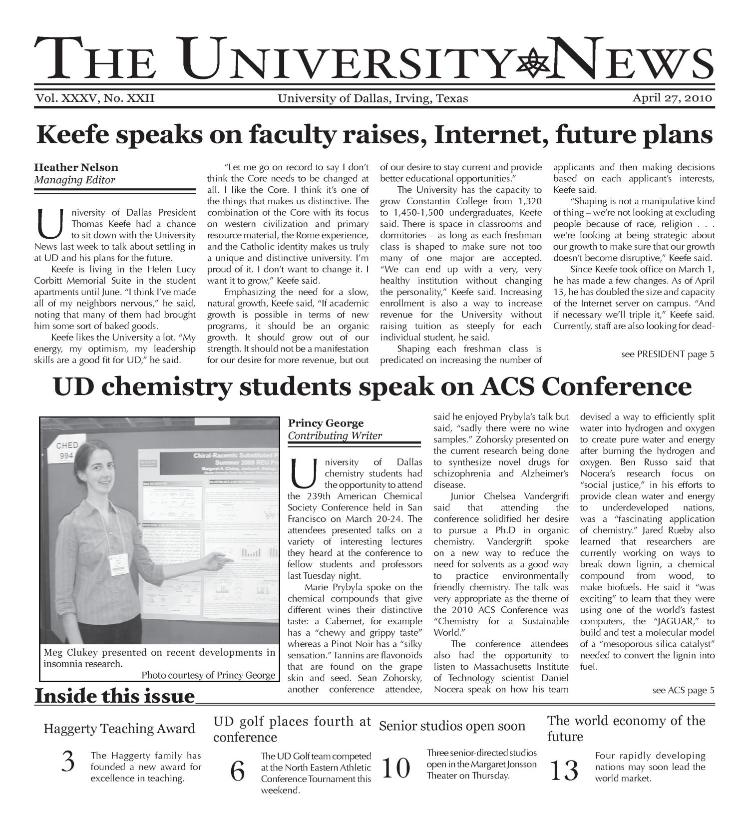 The University News (Irving, Tex.), Vol. 35, No. 22, Ed. 1 Tuesday, April 27, 2010                                                                                                      [Sequence #]: 1 of 15
