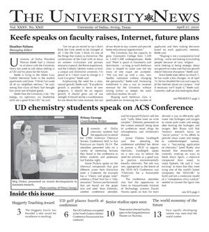 Primary view of object titled 'The University News (Irving, Tex.), Vol. 35, No. 22, Ed. 1 Tuesday, April 27, 2010'.