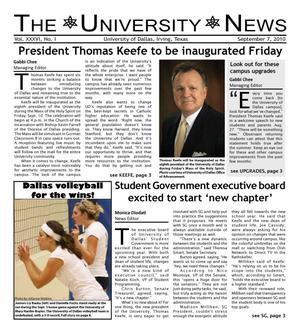 Primary view of object titled 'The University News (Irving, Tex.), Vol. 36, No. 1, Ed. 1 Tuesday, September 7, 2010'.