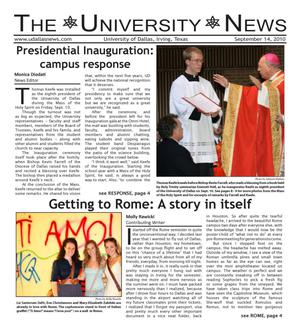 Primary view of object titled 'The University News (Irving, Tex.), Vol. 36, No. 2, Ed. 1 Tuesday, September 14, 2010'.