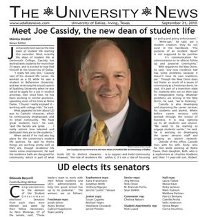 Primary view of object titled 'The University News (Irving, Tex.), Vol. 36, No. 2, Ed. 1 Tuesday, September 21, 2010'.