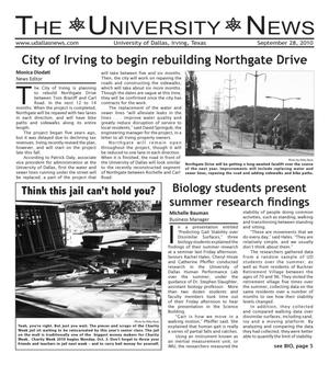 Primary view of object titled 'The University News (Irving, Tex.), Vol. 36, No. 4, Ed. 1 Tuesday, September 28, 2010'.
