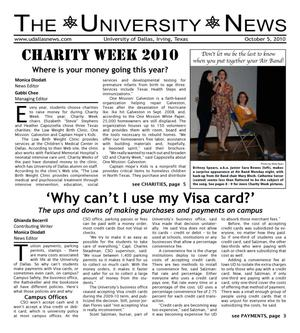 Primary view of object titled 'The University News (Irving, Tex.), Vol. 36, No. 5, Ed. 1 Tuesday, October 5, 2010'.