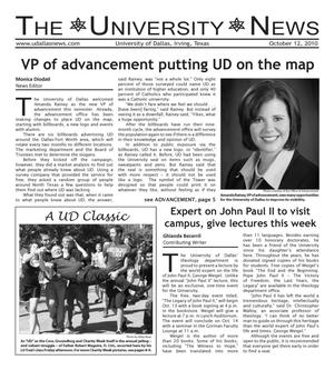 Primary view of object titled 'The University News (Irving, Tex.), Vol. 36, No. 6, Ed. 1 Tuesday, October 12, 2010'.