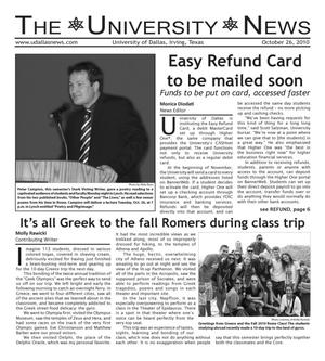 Primary view of object titled 'The University News (Irving, Tex.), Vol. 36, No. 7, Ed. 1 Tuesday, October 26, 2010'.