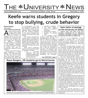 Primary view of object titled 'The University News (Irving, Tex.), Vol. 36, No. 8, Ed. 1 Tuesday, November 2, 2010'.