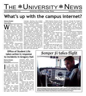 Primary view of object titled 'The University News (Irving, Tex.), Vol. 36, No. 9, Ed. 1 Tuesday, November 9, 2010'.