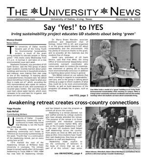 Primary view of object titled 'The University News (Irving, Tex.), Vol. 36, No. 10, Ed. 1 Tuesday, November 16, 2010'.