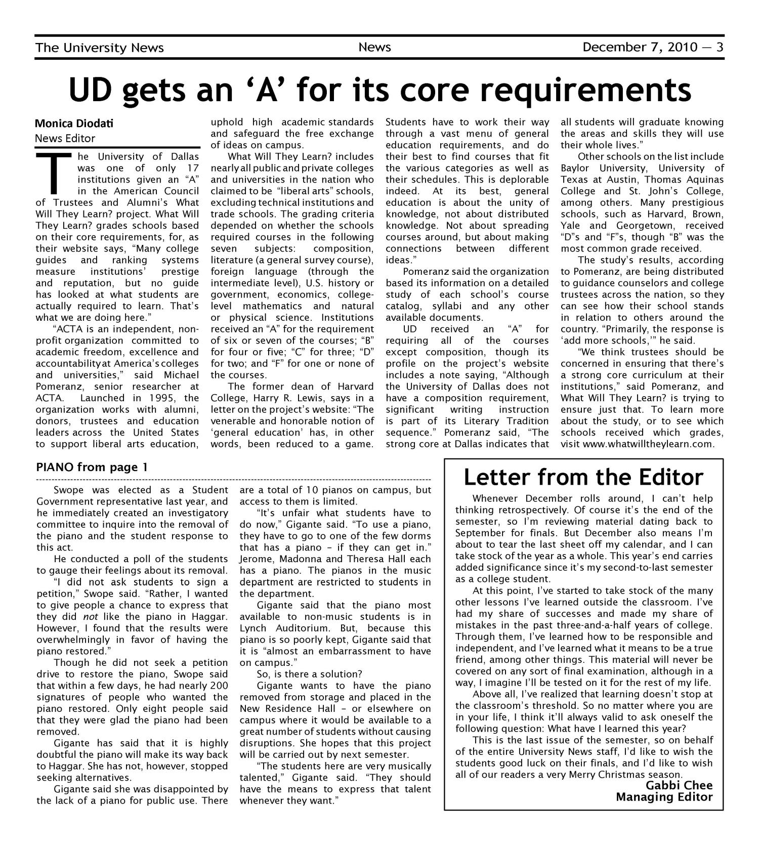 The University News (Irving, Tex.), Vol. 36, No. 12, Ed. 1 Tuesday, December 7, 2010                                                                                                      [Sequence #]: 3 of 16