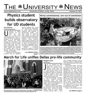 Primary view of object titled 'The University News (Irving, Tex.), Vol. 36, No. 13, Ed. 1 Tuesday, January 25, 2011'.