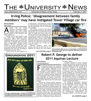 Primary view of object titled 'The University News (Irving, Tex.), Vol. 36, No. 14, Ed. 1 Tuesday, February 1, 2011'.