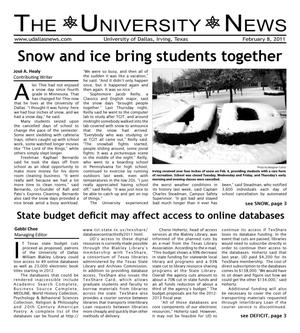 Primary view of object titled 'The University News (Irving, Tex.), Vol. 36, No. 14, Ed. 1 Tuesday, February 8, 2011'.
