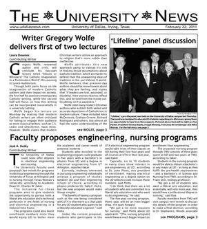 The University News (Irving, Tex.), Vol. 36, No. 16, Ed. 1 Tuesday, February 22, 2011