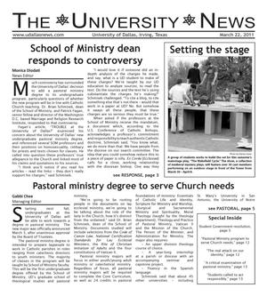 Primary view of object titled 'The University News (Irving, Tex.), Vol. 36, No. 17, Ed. 1 Tuesday, March 22, 2011'.