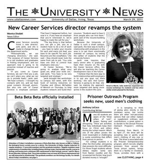 Primary view of object titled 'The University News (Irving, Tex.), Vol. 36, No. 19, Ed. 1 Tuesday, March 29, 2011'.