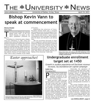 Primary view of object titled 'The University News (Irving, Tex.), Vol. 36, No. 22, Ed. 1 Tuesday, April 19, 2011'.