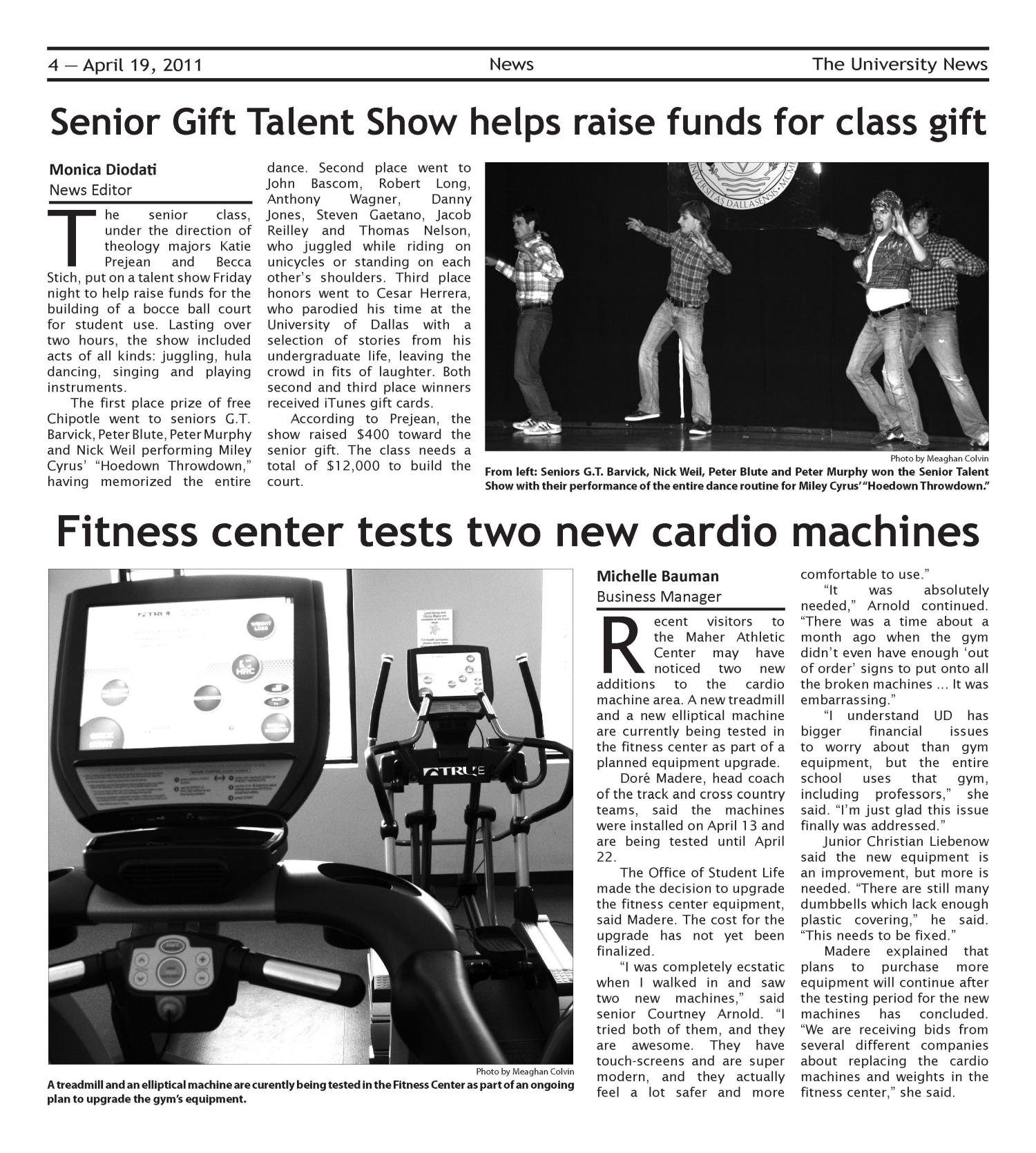 The University News (Irving, Tex.), Vol. 36, No. 22, Ed. 1 Tuesday, April 19, 2011                                                                                                      [Sequence #]: 4 of 16