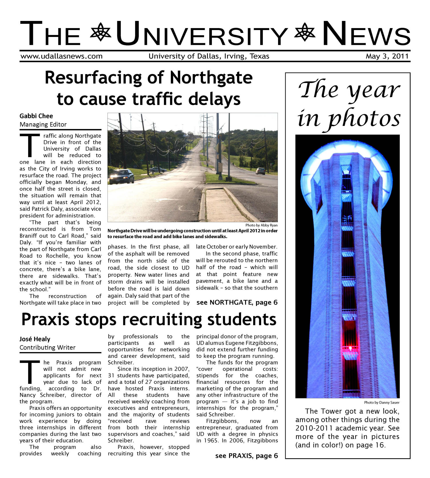 The University News (Irving, Tex.), Vol. 36, No. 23, Ed. 1 Tuesday, May 3, 2011                                                                                                      [Sequence #]: 1 of 16