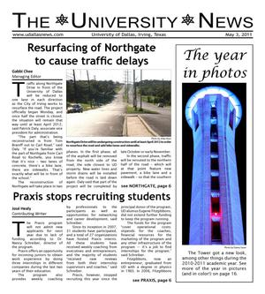 Primary view of object titled 'The University News (Irving, Tex.), Vol. 36, No. 23, Ed. 1 Tuesday, May 3, 2011'.
