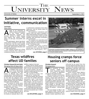 Primary view of object titled 'The University News (Irving, Tex.), Vol. 37, No. 1, Ed. 1 Tuesday, September 6, 2011'.