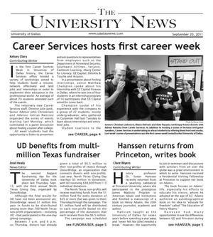 Primary view of object titled 'The University News (Irving, Tex.), Vol. 37, No. 3, Ed. 1 Tuesday, September 20, 2011'.