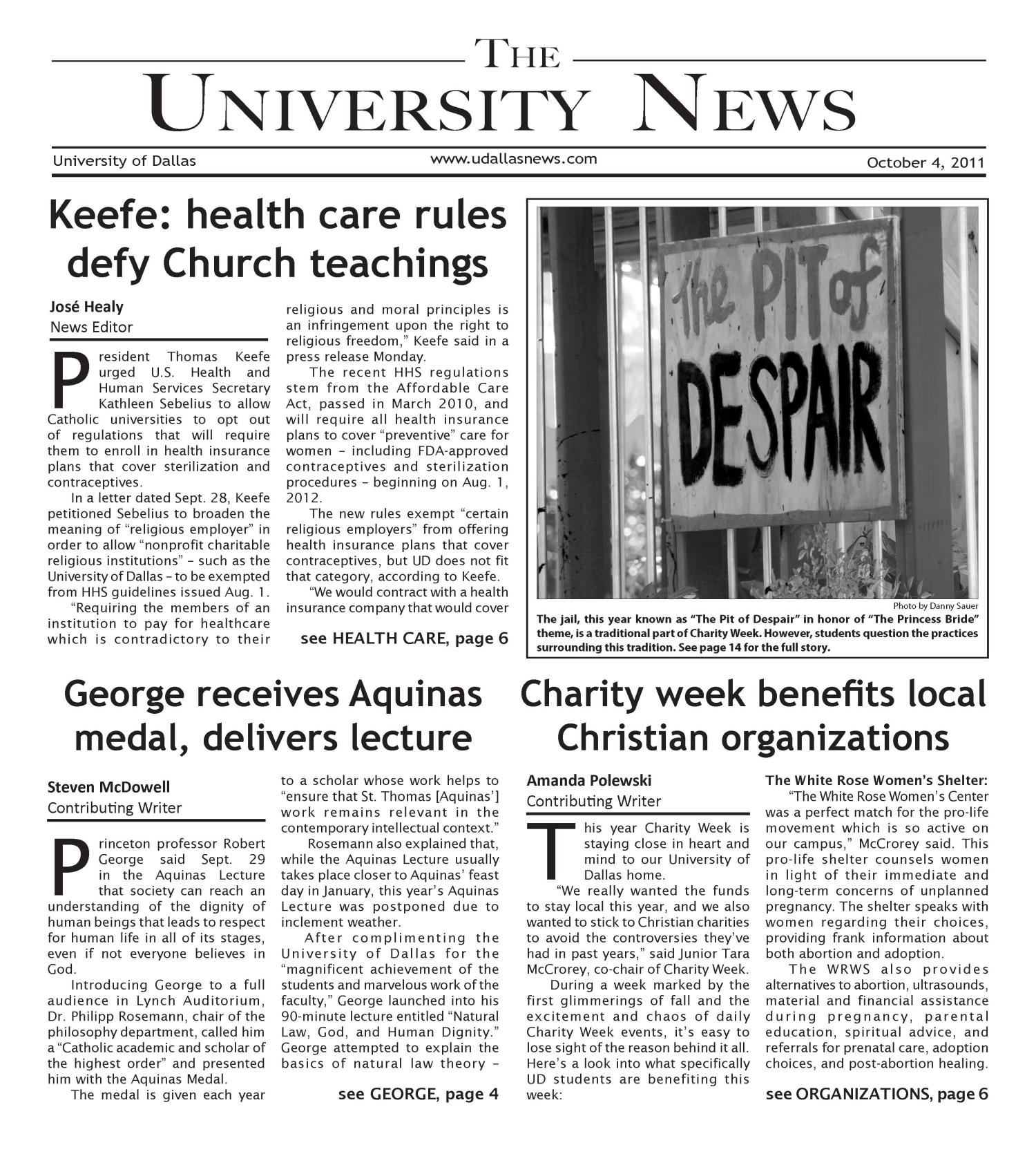 The University News (Irving, Tex.), Vol. 37, No. 5, Ed. 1 Tuesday, October 4, 2011                                                                                                      [Sequence #]: 1 of 16