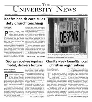 Primary view of object titled 'The University News (Irving, Tex.), Vol. 37, No. 5, Ed. 1 Tuesday, October 4, 2011'.