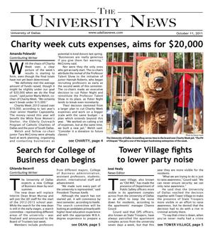 The University News (Irving, Tex.), Vol. 37, No. 6, Ed. 1 Tuesday, October 11, 2011