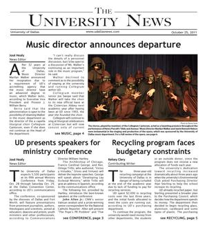 Primary view of object titled 'The University News (Irving, Tex.), Vol. 37, No. 7, Ed. 1 Tuesday, October 25, 2011'.