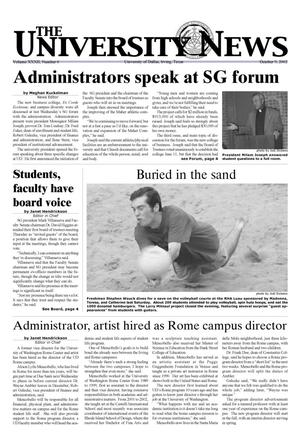 The University News (Irving, Tex.), Vol. 32, No. 6, Ed. 1 Wednesday, October 9, 2002