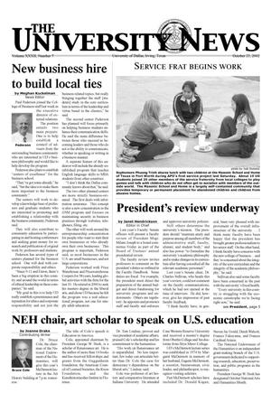 Primary view of object titled 'The University News (Irving, Tex.), Vol. 32, No. 7, Ed. 1 Wednesday, October 23, 2002'.