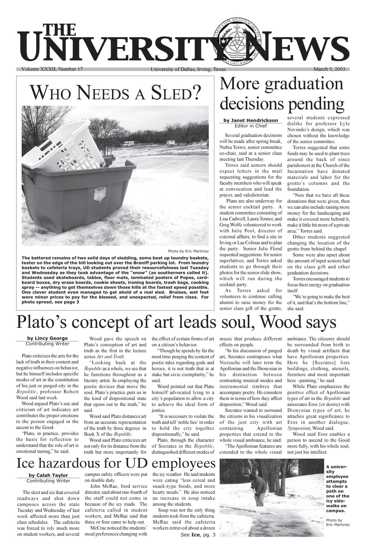 The University News (Irving, Tex.), Vol. 32, No. 17, Ed. 1 Wednesday, March 5, 2003                                                                                                      [Sequence #]: 1 of 12