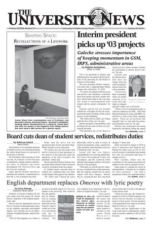 Primary view of object titled 'The University News (Irving, Tex.), Vol. 33, No. 13, Ed. 1 Wednesday, January 28, 2004'.