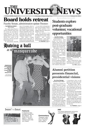 Primary view of object titled 'The University News (Irving, Tex.), Vol. 33, No. 16, Ed. 1 Wednesday, February 18, 2004'.
