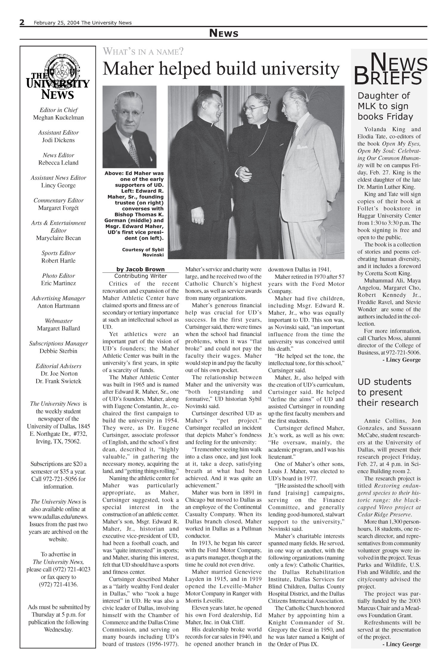 The University News (Irving, Tex.), Vol. 33, No. 17, Ed. 1 Wednesday, February 25, 2004                                                                                                      [Sequence #]: 2 of 16