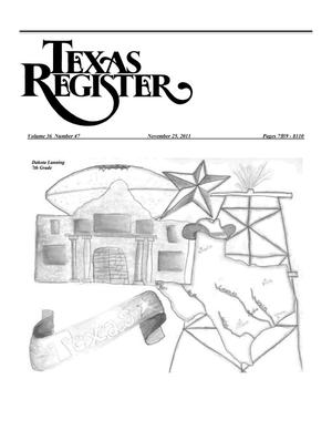 Primary view of object titled 'Texas Register, Volume 36, Number 47, Pages 7939-8110, November 25, 2011'.
